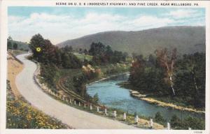 Scene on U. S. 6 (Roosevelt Highway) and Pine Creek, near WELLSBORO, Pennsylv...
