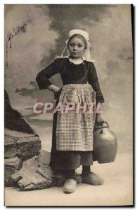 Old Postcard Folklore At the fountain Girl Tregune
