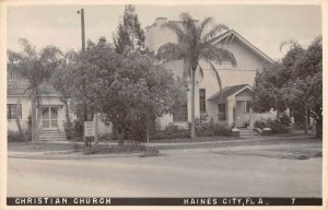 Haines City Florida birds eye view showing Christian Church real photo pc BB2490