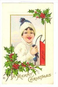 Christmas , Boy holding snow sled, PU-1922