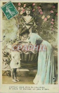 Postcard Old Love will tell you New Give him some water Female Children
