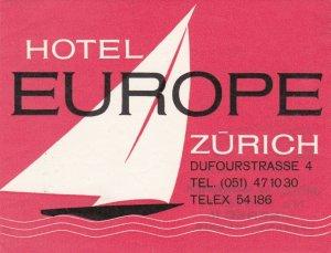 Switzerland Zurich Hotel Europe Vintage Luggage Label sk4222