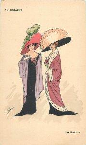 Early parisian fashion old pictorial card artist signed au cabaret les soupeuses