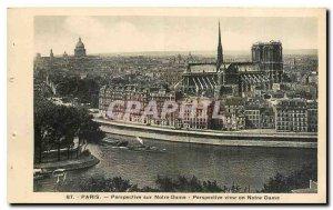Old Postcard Perspective Paris Notre Dame