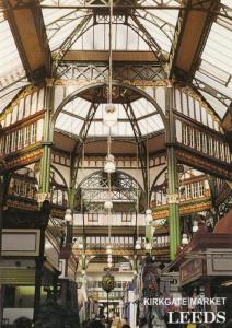 Leeds Yorkshire Kirkgate Market Hanged Lights Clock Shopping Precinct Postcard