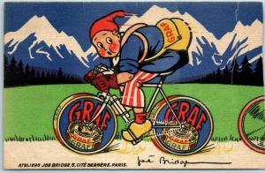 French Advertising Postcard GRAF CRÈME DE GRUYERE Tour de France Bicycle TRIMMED