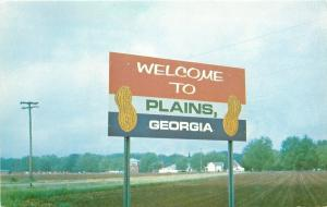 Plains Georgia~Highway Welcome Sign~Shell Peanuts~Plowed Field~1970s