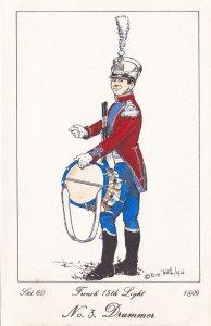 French 15th Light Regiment Drummer Napoleonic War Soldier PB Postcard
