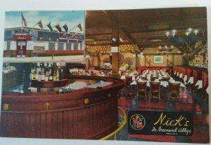 1940's NYC Postcard NICK'S IN GREENWICH VILLAGE Restaurant Bar Linen**UNUSED**
