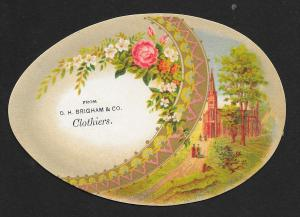 VICTORIAN TRADE CARDS (4) Brigham Clothiers Egg Shape Flowers, Birds, Town Views