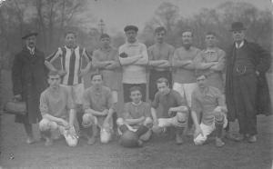 English Soccer Team & Ball~Striped Shirt~Coach/Trainer RPPC c1914