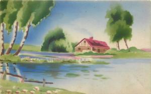 Postkarte 1913 Landschaft landscape fantasy hand painted