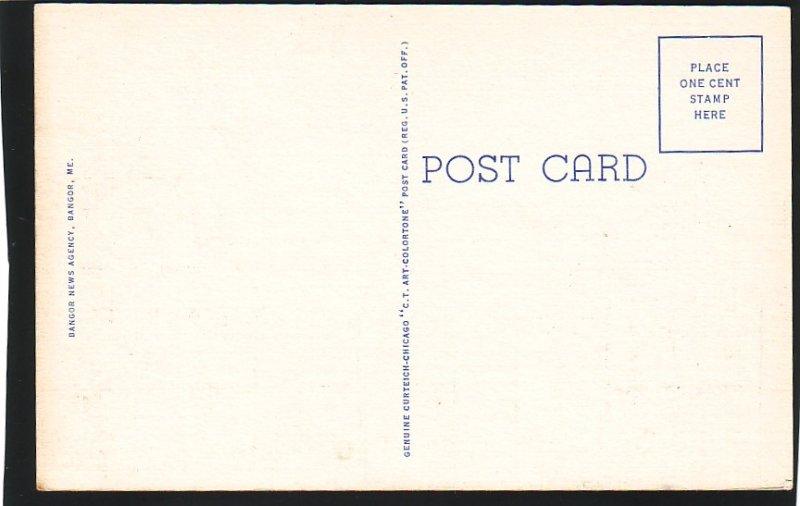 P1525 old unused postcard old cars trollies store signs etc bangor maine
