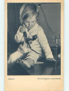 Pre-Linen foreign ITALIAN BOY TALKING ON ANTIQUE TELEPHONE HJ4303