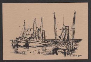 MS Fishing Boats Harbor MISSISSIPPI MISS Postcard PC