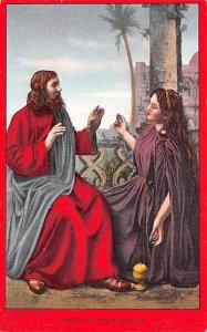 Religious Postcard The Passion Play Christ and the Magdalene Unused