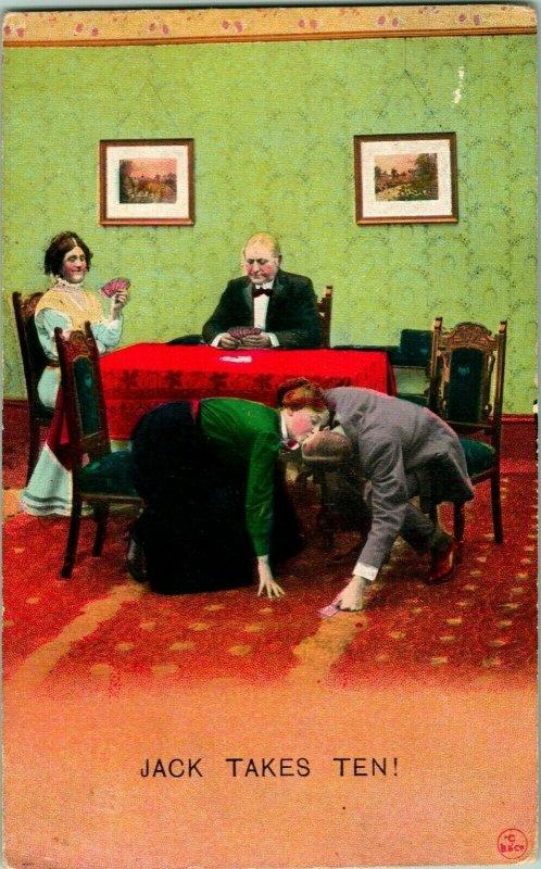 Vtg Postcard 1910s Bridge Card Game Comic - Jack Takes Ten - Bamforth & Co