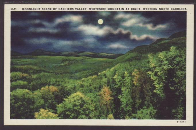 Night scene Cashiers Valley,Whiteside Mountain,NC Postcard