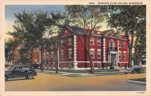 Woman's Club, Racine, Wisconsin, Early linen Postcard, Used in 1943