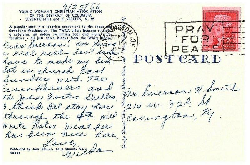 Washington DC YWCA 17th & K Streets Postcard Pray for Peace Cancel Posted 1956
