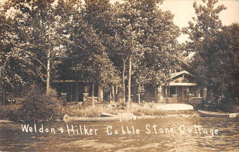 Angola Indiana Cobble Stone Cottage Real Photo Antique Postcard K62716