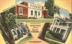 Greetings from West Virginia University at Morgantown - Linen