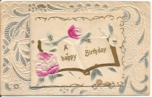 A Happy Birthday on Pages of Book Gold Gild Edges Heavily Embossed Pink Roses
