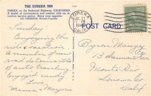 EUREKA INN Eureka, CA Redwood Highway 1940 Vintage Linen Postcard