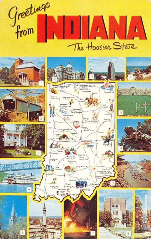 Postcard US State Map Indiana The Hoosier State USA United States #I