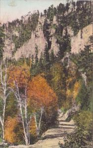 In The Heart Of Spearfish Canyon Savoy South Dakota Handcolored Albertype 1940