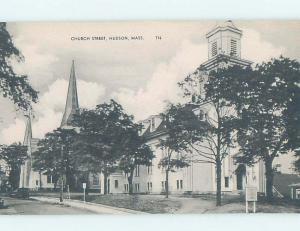 Pre-1952 STREET SCENE Hudson - Near Marlborough & Framingham & Boston MA W1688
