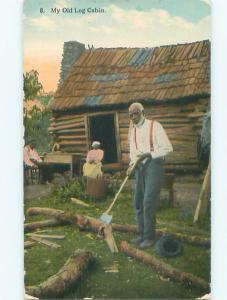 Pre-Linen Black Americana LUMBERJACK SPLITTING WOOD AC0313
