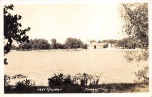 Hobert Indiana~Lake George Scene~Barn & Bridge on Opposite Shore~c1930 RPPC