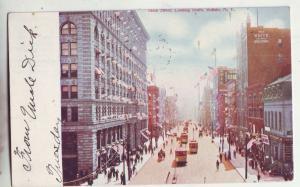 P976 1908 trolleys people, many flags etc main street buffalo new york