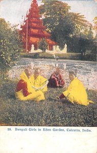 Bengali Girls in Eden Garden Calcutta India 1912