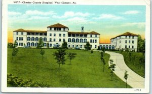 West Chester, Pennsylvania Postcard CHESTER COUNTY HOSPITAL Curteich Linen 1950
