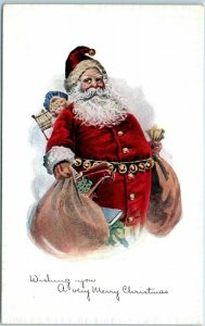 1910s Christmas Postcard Fat SANTA CLAUS Red Suit Bag of Toys Pink of Perfection