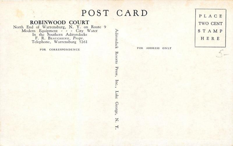 Warrensburg New York~Robinwood Motor Court~1940s Roadside Motel Postcard