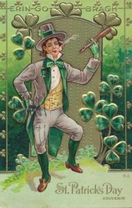 St Patricks Day Greetings - Man Dancing and Smoking Pipe - pm 1911 - E Nash - DB