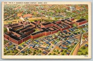Akron Ohio~BF Goodrich Rubber Company~Factory Birdseye~1940s Linen Postcard