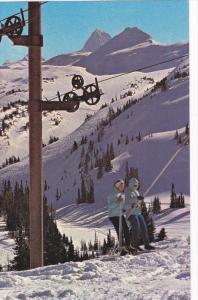 Skiing , T-Bar Lift , Sunshine Village , BANFF , Alberta , Canada , 1950-60s