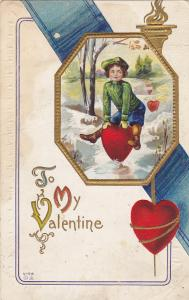 VALENTINE'S DAY, 1900-1910's; To My Valentine, Girl Jumping Over A Heart