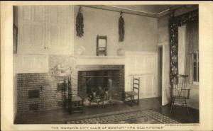 Boston MA Women's City Club The Old Kitchen c1920s Postcard