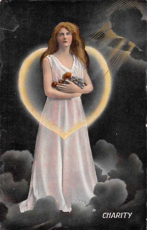 Religious Charity Lady Shining Star Heart , Woman Angel Clouds