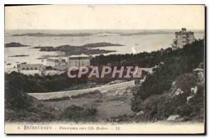 Old Postcard Panorama Trebeurden to Ile Molene
