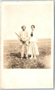 1910s RPPC Real Photo Postcard Man Holding Baseball Bat in Field w/ Sweetheart