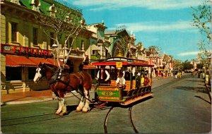 Disneyland Vintage Postcard CIGAR STORE INDIAN CINEMA HORSE-DRAWN TROLLEY CHROME