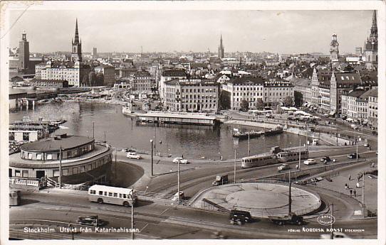 Sweden Stockholm Utsikt fran Katarinahissan 1957 Real Photo