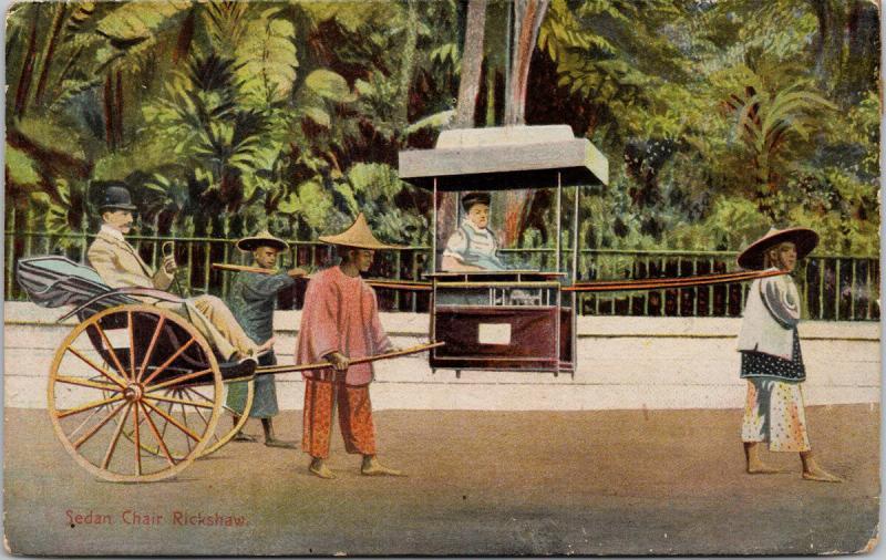 Sedan Chair Rickshaw Hong Kong China Postcard E39 *As Is
