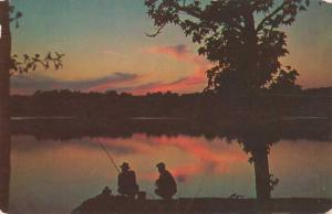 Greetings from Indiana - Fishing at Sunset - pm 1956